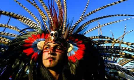 Aztec in elaborate headdress