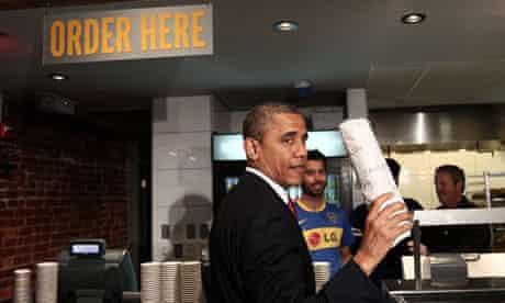Barack Obama ordering a sandwich