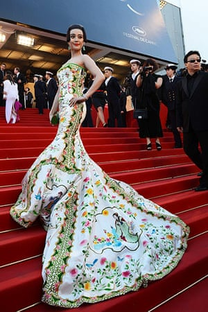 Moonrise: Chinese model Fan Bing Bing shows off the elaborate trail to her dress