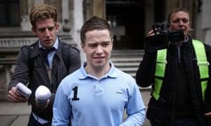 Sam Hallam leaves court after judges quashed his murder conviction