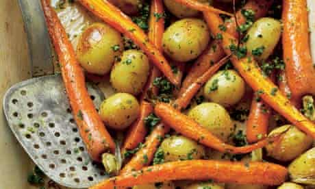 Roasted carrots and new potatoes