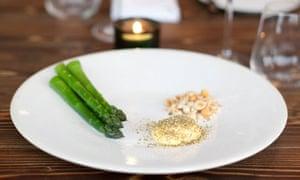 Ollie Dabbous' English asparagus, virgin rapeseed oil mayonnaise, meadowsweet and hazelnut starter