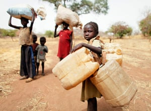 Nuba Mountains Conflict: Children on their way to Yida refugee camp in South Sudan
