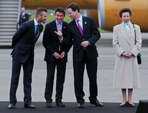 Olympic Torch Relay: David Beckham with Sebastian Coe, Nick Clegg and Princess Anne