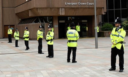 Police outside Liverpool crown court