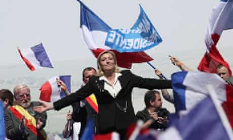 Marine Le Pen at a Front National parade in Paris on May Day