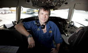 Dickinson in the cockpit of a Boeing 757.