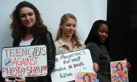 Emma Stydahar,  Julia Bluhm, and Natasha Williams, protest outside Seventeen in New York.