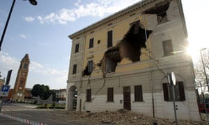 Damage to the town hall of Sant' Agostino near Ferrara from a powerful earthquake in northern Italy