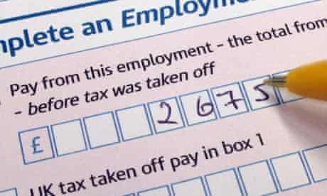 A tax return self-assessment form