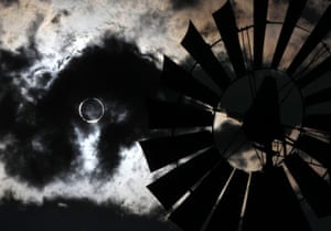 eclipse: Eclipse, cloud and windmill in Gardnerville, Nevada