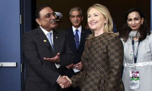 Asif Ali Zardari has met the US secretary of state, Hillary Clinton, at the Nato
