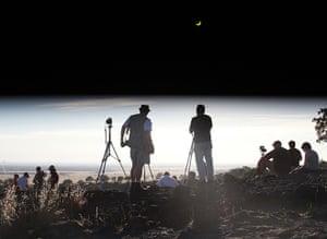 Solar eclipse: People observe the solar eclipse in Chico, California