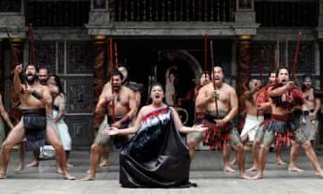 Members of New Zealand's Ngakau Toa theatre company perform Shakespeare's Troilus and Cressida