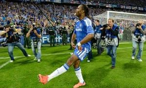 Chelsea's Didier Drogba celebrates winning the Champions League final against Bayern Munich