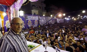 Egyptian presidential candidate Field Marshal Ahmed Shafiq at a rally in Tanta
