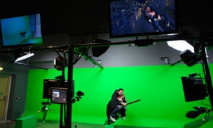 broomstick in front of green screen