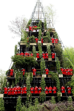Picture desk live: A pyramid of pensioners at the Chelsea Flower Show