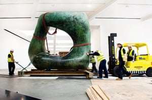 Henry Moore: One half of Henry Moore's Large Two Forms is moved into the gallery