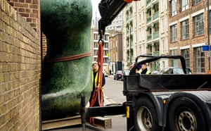 Henry Moore: One of Henry Moore's Large Two Forms is carefully moved