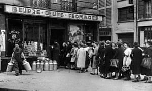Queue for food outside a shop in Nazi-occupied France