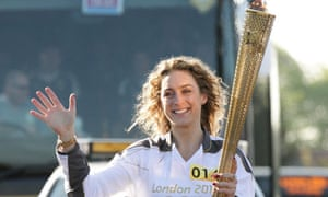 Amy Williams carries the Olympic flame on the leg between Yeovil and Somerton