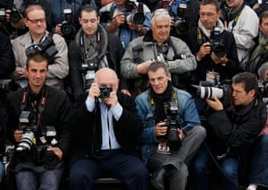 Cannes day 7: Director and photographer Raymond Depardon sits with the photographers