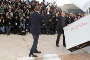 Cannes day 7: Actor Benoit Poelvoorde waves a piece of paper about