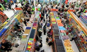 A busy supermarket store