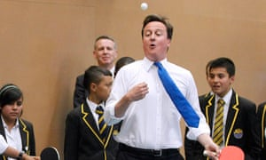 David Cameron playing table tennis