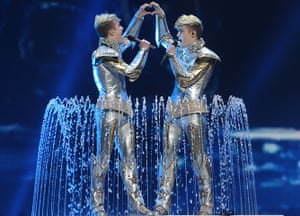 Eurovision semi-final: Jedward of Ireland perform Eurovision Song Contest 2012 in Baku