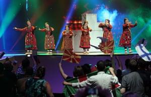 Eurovision semi-final: Buranovskiye Babushki of Russia perform  Eurovision Song Contest in Baku