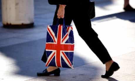 A shopper with a union flag bag