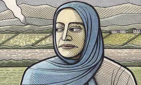 Clifford Harper illustration of a woman wearing a veil