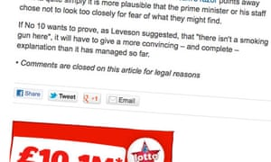 Comments closed on a recent Comment is free article about the Leveson inquiry