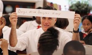 Mitt Romney at a charter school in Philadelphia
