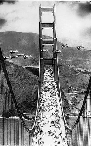 Golden Gate Bridge: military biplanes fly between the towers
