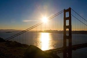 Golden Gate Bridge: The north tower of the Golden Gate Bridge