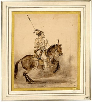 Horse: Man on horseback, with a falcon, early 18th century, India