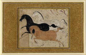Horse: Three horses galloping across a bare landscape