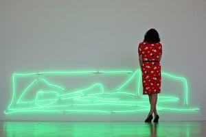 Tracey Emin exhibition: A visitor walks past an installation entitled 'Nothing Is Real'