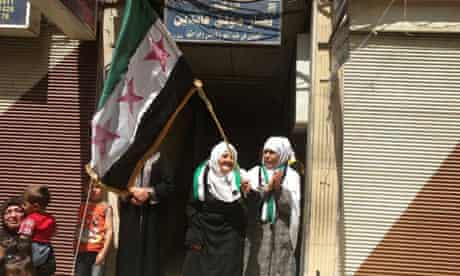 Demonstrators protest against Assad