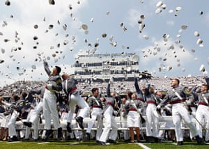 24 hours: West Point, New York, US: Cadets throw their hats in the air