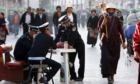 Lhasa temple. Chinese police