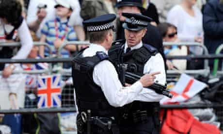 Police in London during the royal wedding in April 2011
