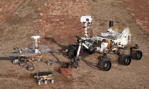 Three generations of rovers at JPL's Mars Yard