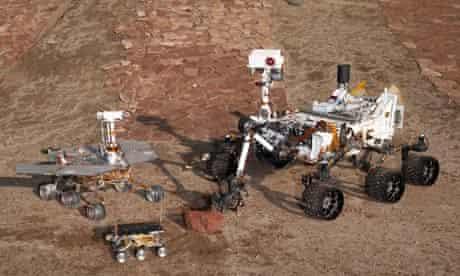 Three generations of rovers at JPL's Mars Yard