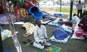 African migrants in Levinsky park, Tel Aviv