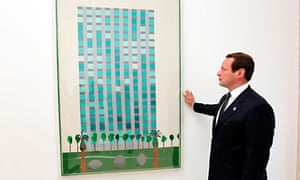 Ed Vaizey with David Hockney painting