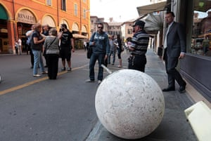 Italy earthquake: A large ornament which fell from the Voto Church in Modena